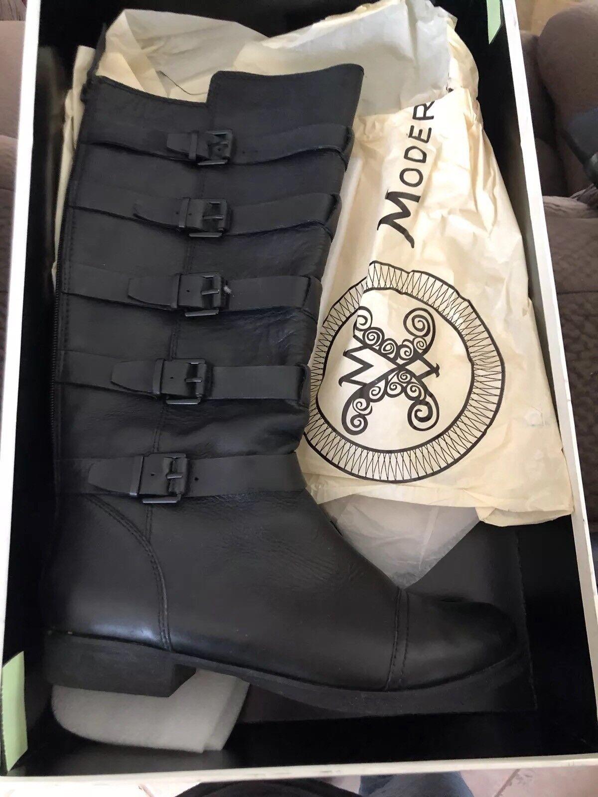 Felices compras Modern Modern Modern Vintage Negro Cuero Oriana 5 hebilla de la rodilla botas altas 9.5 39.5  toma