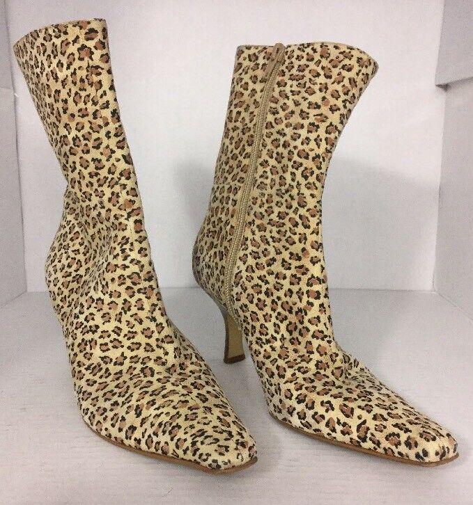 Gianni Bini 6M Tan Brown Mini Leopard Print Leather Kitten Heel Ankle Boots