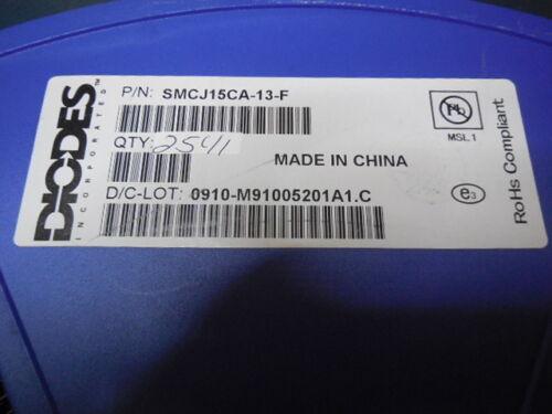 50pc SMC RoHS 1500W Peak Power 15V TVS SMCJ15CA-13-F Diodes,Inc
