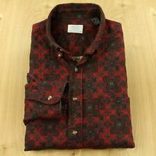 vtg YALE CO-OP batik print men's shirt, size LARGE, red hippie paisley ivy trad