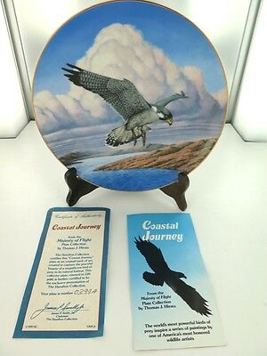 "MAJESTY OF FLIGHT BY T J HIRATA ""COASTAL JOURNEY"" COLLECTORS PLATE, BOX & COA."