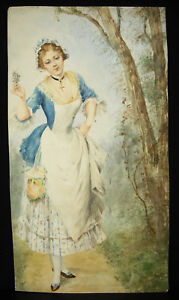 Junges-Frau-Coquete-Au-Kruzifix-Zeichnung-Original-Aquarell-c1850-32-cm-17-CM