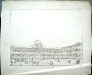 1830-PARIGI-VEDUTA-DEL-PIAZZALE-DEL-LUOVRE-ANIMATO-DI-AUGUSTE-HIBON