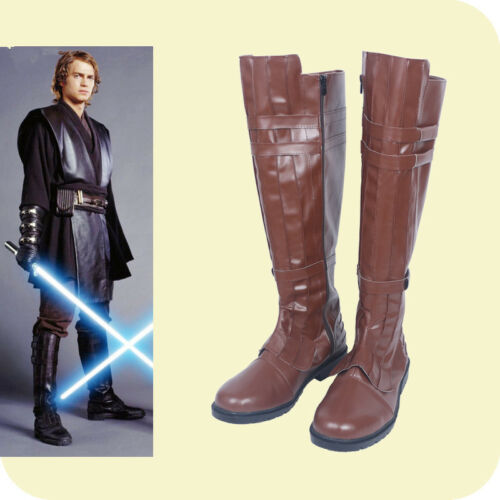 Hot! Star Wars Jedi Warrior Oubi Wang boots shoes costom made brown AA.0764