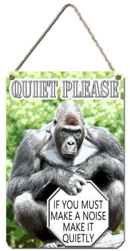QUIET PLEASE Gorilla Wall Plaque Aluminium Wall Sign Gift Kazmugz Exclusive