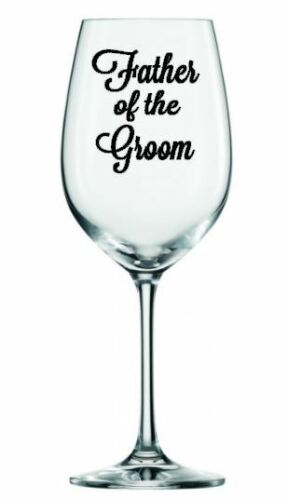 FATHER OF THE GROOM x2 Vinyl decal stickers glitter wine glass wedding