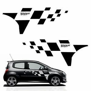 kit stickers twingo rs ref 121 damier de porte renault sport autocolant tuning ebay. Black Bedroom Furniture Sets. Home Design Ideas
