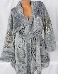 Victoria's Secret PINK Plush Gray Marl Bling Logo Hooded Robe XS S NEW