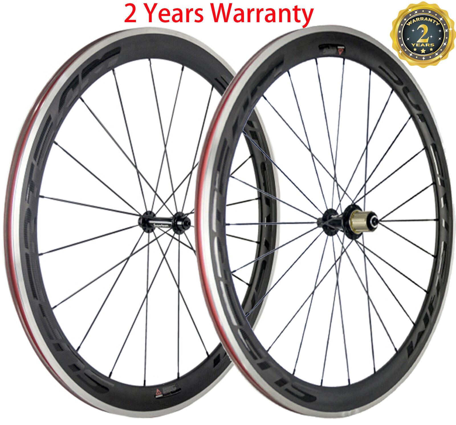 Carbon  Wheels Road Bike 50mm Aluminum Brake Surface Clincher Wheelset 700C Bike  quality assurance