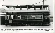 Pamlin M492 West Ham Bogie Tram Car 1934 repro photo postcard