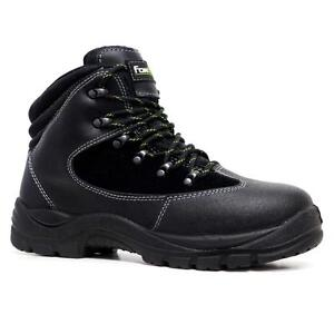 Mens Fortec Leather Safety Steel Toe Cap Work Ankle Hiking Boots Trainers Shoe