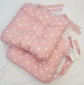 UK-MADE-BLUSH-PINK-SPOTTY-CHUNKY-PADDED-POLKA-DOTS-CHAIR-SEAT-PAD-8-99-EACH