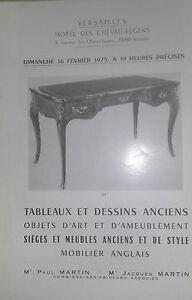 1975 Versailles Catalogue Di Vendita Lavagna E Disegni Antichi Articolo Art