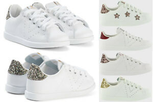 NEW Victoria Women/'s Leather Glitter Lace Up Tennis Shoes Casual Sneakers White