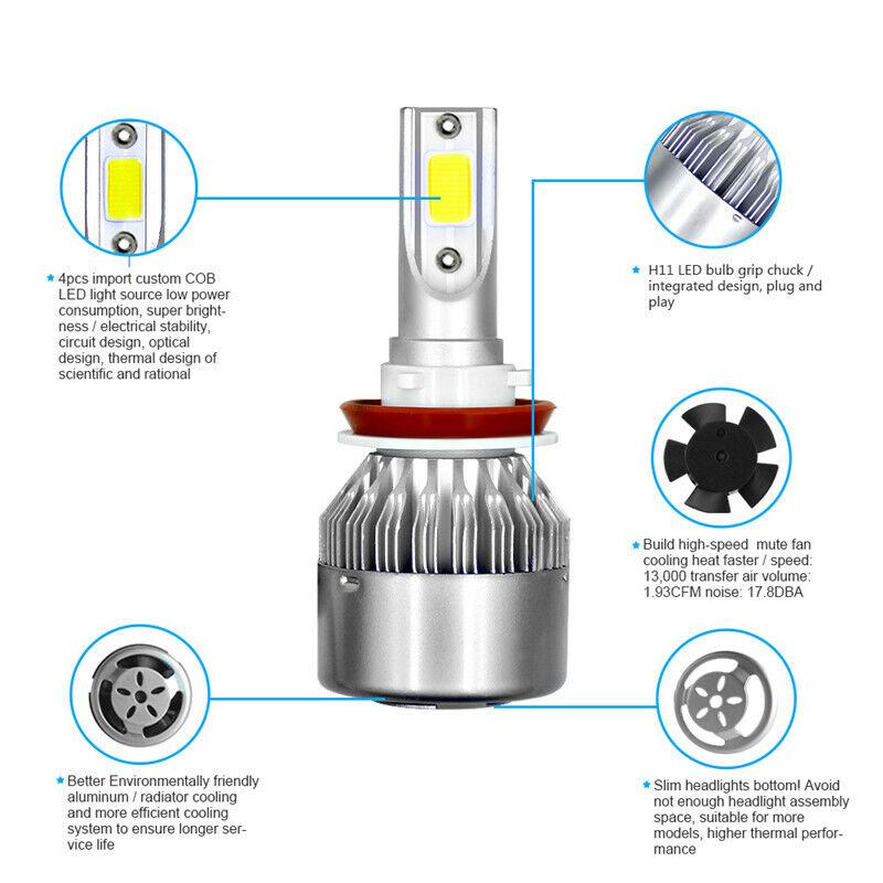 4X H11 LED Headlight Kits Bulbs For Chrysler Town /& Country 2016-2010 Hi//Lo Beam