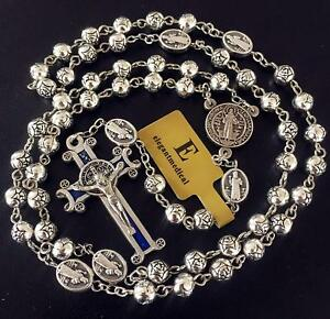 Details about Silver Rose Beads Catholic Saint St Benedict Rosary Cross  Necklace Jewellery Box