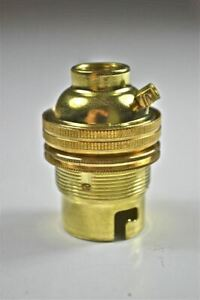 10 BRASS BAYONET FITTING BULB HOLDER LAMP HOLDER EARTHED SHADE RING 1//2 INCH L3