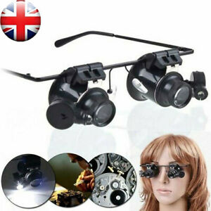 20X-Magnifier-Magnifying-Eye-Glass-Loupe-Jeweler-Watch-Repair-Kit-With-LED-UK