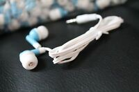Bulk Lot Of 10 - Blue/white - 3.5mm In-ear Earbuds / Earphones - U.s. Shipper