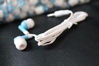 Bulk Lot Of 10 - Blue/white - 3.5mm In-ear Earbuds / Earphones - U.s. Shipper