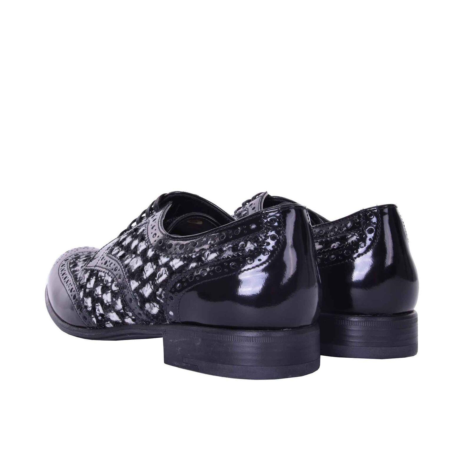 DOLCE & GABBANA Derby Schuhe Schuhe Schuhe BOY aus Leder und Boucle Schwarz Schuhes 06191 f8bfee