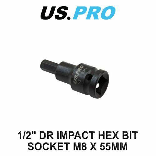 "US PRO Tools 1//2/"" DR Impact Hex Bit Socket M8 X 55MM 3320"