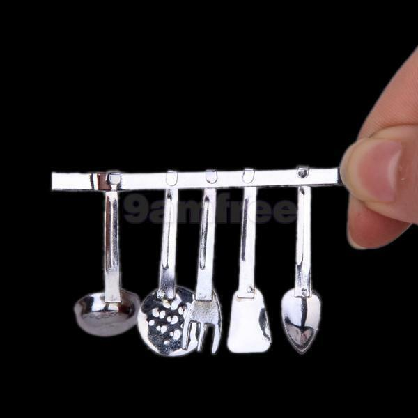 1/12 Silver metal DOLL kitchen UTENSILS cooking set rack dollhouse miniature New