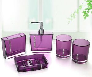 Bathroom Accessories Purple hot sale fashion 5pcs bathroom accessories sets wedding business