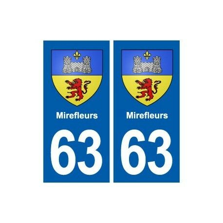 63 Mirefleurs blason autocollant plaque stickers ville -  Angles : droits
