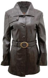 Classique Cuir Chocolat Femmes Avec Caban Ceinture Marron Militaire 1dqxH