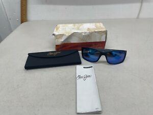 Maui Jim Kanaio Coast Polarized Sunglasses - Matte Translucent Blue Black