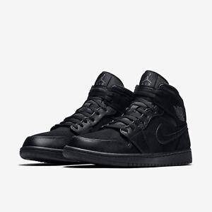dans la 10 en boîte Jordan Uk noires Baskets 1 daim Nike Air Mid neuves Pw7ncfRq