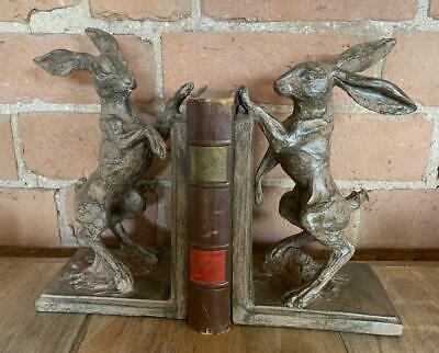 Vintage style distressed finish Grey Pair of Bookends Boxing Spring Hares