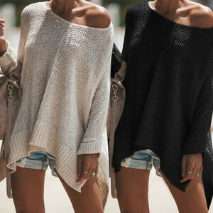 Women-Long-Sleeve-Round-neck-Loose-Knit-Sweater-Casual-Jumper-Tops-Pullover-NG20