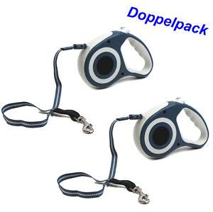 2-Stueck-AUTOMATIKLEINE-5-m-Hunde-Ausziehleine-Rollleine-flexibel-BLAU-cf