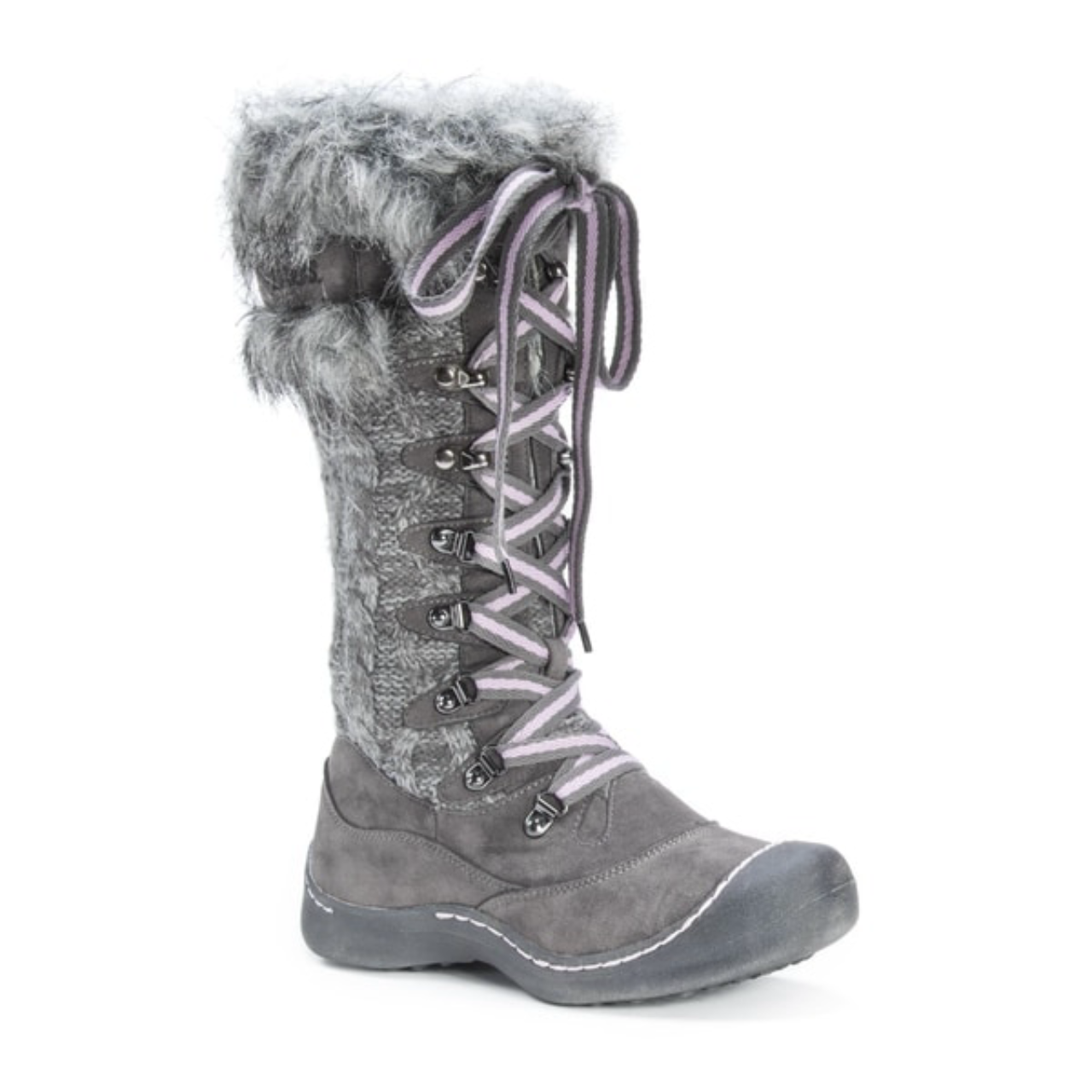 Muk Luks Gwen Polyester/Faux Fur Winter Snow Stivali Grey Donna Size 9