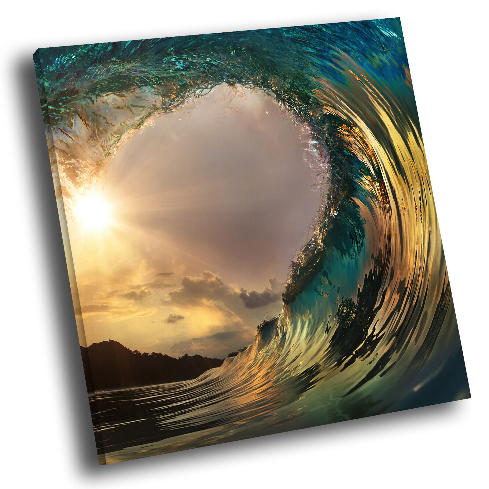 Blau Gelb grau Wave Nature Square Scenic Canvas Wall Art Large Picture Print