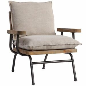 Uttermost Declan Accent Chair in Weathered Oak and Brown 792977234754