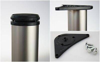 4er Set Tischbeine Möbelfüße Tischstempel matt vernickelt ø 60mm Höhe 820mm