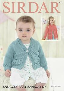 Sirdar-4733-Knitting-Pattern-Baby-amp-Girls-Cardigans-in-Snuggly-Baby-Bamboo-DK