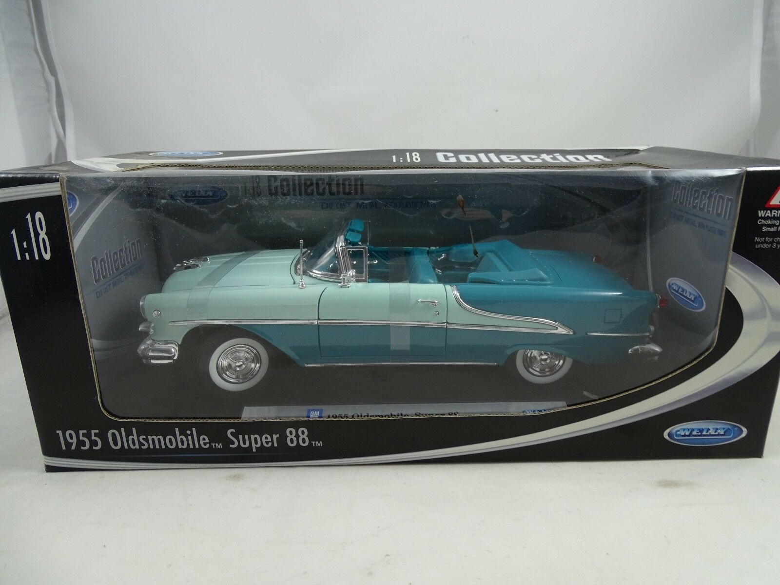 1 18 Welly 1955 OLDSMOBILE SUPER 88 Bleu ciel turquoise  19869w - RARE §