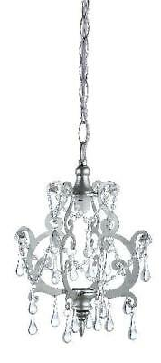 Crystals Drop Petite Chandelier Silver Baby Crib Decor Shabby Paris Chic NIB