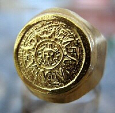 Aztec calendar sun stone of the Five Eras Mayan 24k gold plated Ring Mexico City