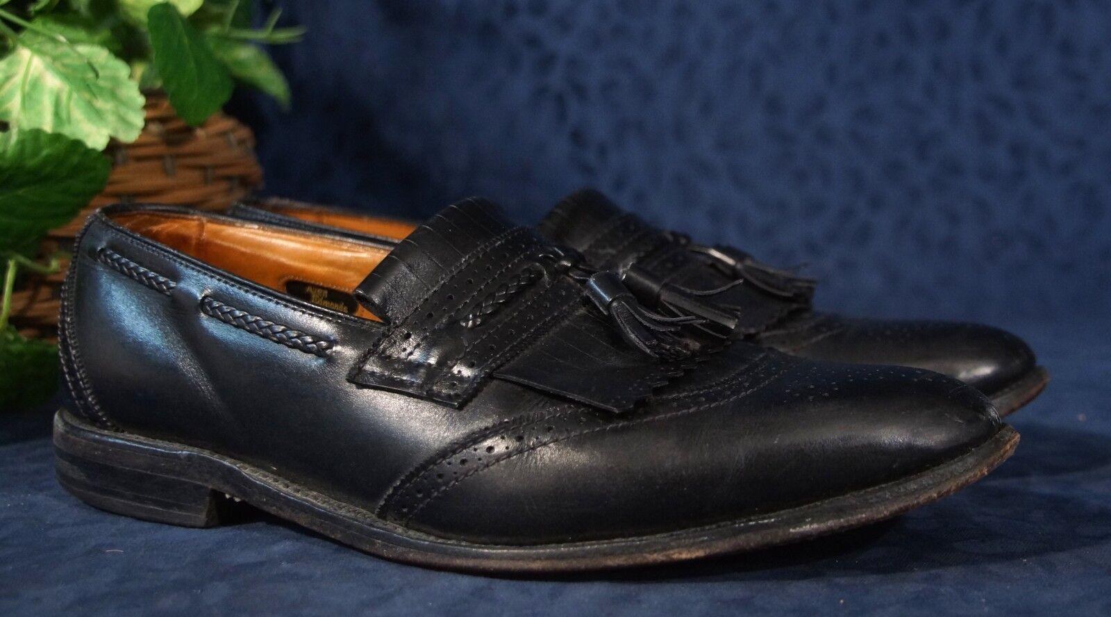 Vintage Allen Edmonds Negro Bradenton de la puntera winngtip Borla Mocasines Talle 9.5 D
