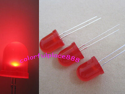 100pcs, 10mm Red Round Top Diffused Bright LED 5K MCD Leds Lamp Lights 2-Pin + R