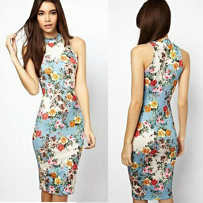 Sexy Women Summer Casual Floral Cocktail Party Bodycon Pencil Dress Stylish
