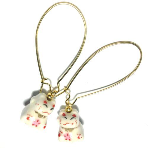 Pendientes de perla de gato chino dorado con los cables de riñón extra largo-hecho en Reino Unido