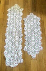 Vintage Hand Crochet Doily Table Runner Dresser Scarf Pink White Star Set of 2
