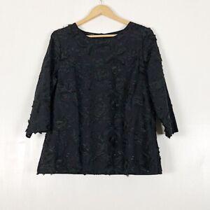 Talbots Black Floral Applique Blouse Sz 14 NWT