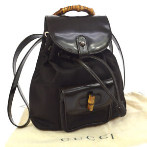 e21ce38504ddfa Image is loading Authentic-GUCCI-Bamboo-Backpack-Bag-Brown-Nylon-Patent-